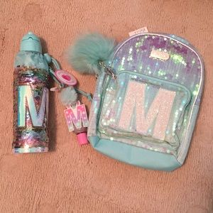 Justice sparkle set water bottle and mini backpack